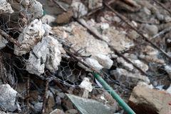 Steel net from ceiling demolished stock photography