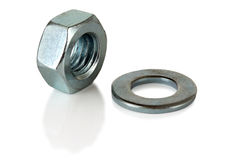Steel nut and washer Stock Photos