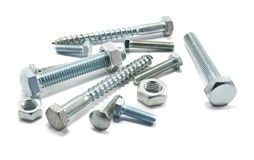 Steel nuts and bolts Stock Images