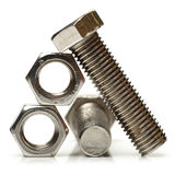Steel nuts and bolts Stock Image