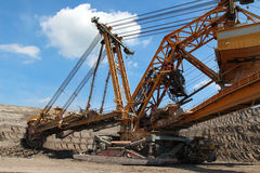 Steel overburden excavator open the coal mine Royalty Free Stock Photo