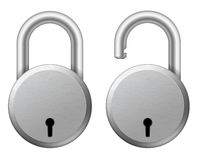 Steel padlock. Vector illustration of steel solid padlock Stock Photo