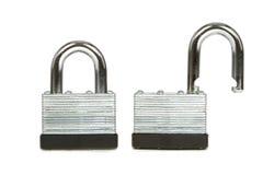 Steel Padlock Both Locked and Unlocked on White Royalty Free Stock Images