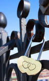 Steel padlock with hearts Royalty Free Stock Images