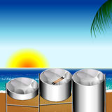 Steel Pan Drums. Vector Illustration of three variations of Steel Pan Drums on the beach invented in Trinidad and Tobago