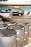 Steel pan drums roadside port of spain trinidad Royalty Free Stock Image