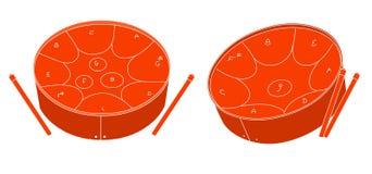 Steel pan drums. Trinidad and Tobago national musical instrument steel pan drum Stock Image