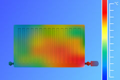 Steel panel radiator. Equipment for heating a thermal imaging camera. The concept of saving energy. Royalty Free Stock Photo