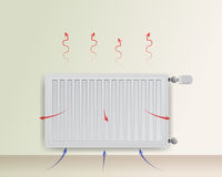Steel panel radiator. The flow of air and heat is depicted arrows. Royalty Free Stock Photos