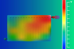 Steel panel radiator. HVAC equipment thermal imager. Stock Images