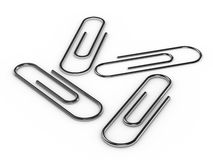 Steel paperclips Royalty Free Stock Images