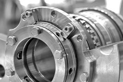 Steel parts for industrial machinery. Round shape. Black and white toning. Close up Stock Photo