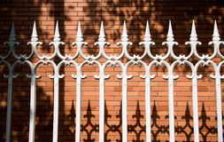 Steel picket fence Stock Photo