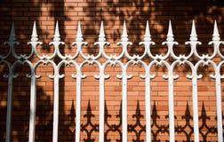 Steel picket fence Stock Photo