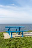 Steel picnic table at Dutch coast Royalty Free Stock Photography