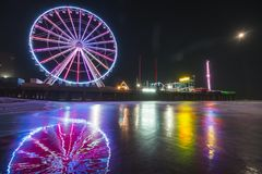 Steel pier with reflection at night,Atlantic city,new jersey,usa. royalty free stock image