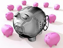 Steel piggy bank. Funny piggy banks on a white background Stock Image