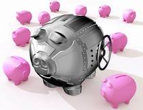 Steel piggy bank royalty free illustration