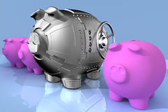 Steel piggy bank. Synthesis from piggy bank and banking safe Royalty Free Stock Photography