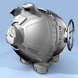 Steel piggy bank. Synthesis from piggy bank and banking safe Stock Images