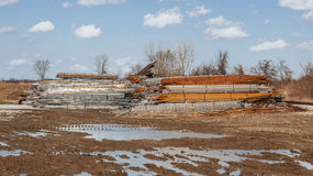 Steel pile. A pile of steel of various colors and types along side of the road Royalty Free Stock Photography