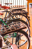 Steel pillion vintage bicycle Stock Images