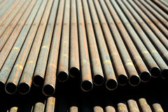 Steel Pipe. Rows of steel pipe Royalty Free Stock Image