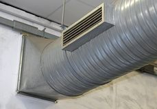 Steel pipe of air conditioning and heating in a factory Royalty Free Stock Images
