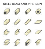 Steel Pipe Beam. Vector icon of steel pipe and beam product  for construction industry work Stock Photo