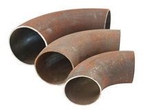 Steel pipe bends Stock Photo