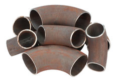Steel pipe bends. Some steel pipe bends - spare parts for pipelines stock images