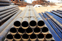 Steel pipe  for construction. Heavy steel pipe on storage  for construction Royalty Free Stock Image
