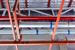 Steel pipe in factory construction site Royalty Free Stock Images