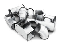 Steel pipe fittings isolated on a white background. 3d rendering.  Royalty Free Stock Photo