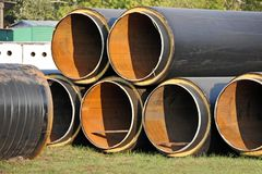 Steel pipe with heat insulation Stock Images