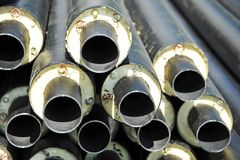 Steel pipe with heat insulation Stock Photo