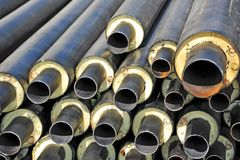 Steel pipe with heat insulation Royalty Free Stock Photos