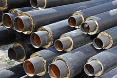 Steel pipe with heat insulation Royalty Free Stock Photography