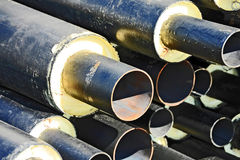 Steel pipe with heat insulation Stock Image