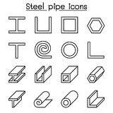 Steel Pipe icons set in thin line style. Vector illustration graphic design Stock Images