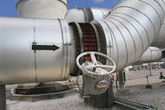 Steel pipe line with hot  insulation Royalty Free Stock Photography