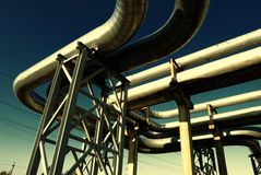Steel pipe-line is photographed on sky background Royalty Free Stock Photos