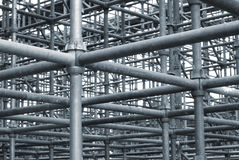 Steel Pipe Network. Network of steel pipes in a construction grid stock photos