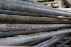 Steel pipe piles Royalty Free Stock Photo
