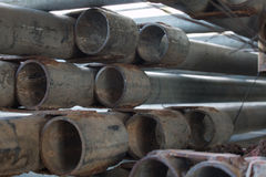 Steel pipe piles Stock Image
