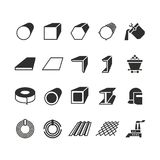 Steel pipe and roll steel metal product vector icons. Profile and bar, roll and pipe steel for construction illustration Royalty Free Stock Photography