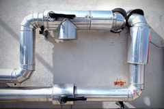 Steel pipe system. Steel pipe ventilation system conduit Royalty Free Stock Image