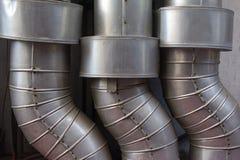 Steel pipeline. Detial of steel pipeline in factory Stock Image