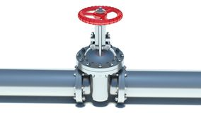 Steel pipeline with red valve.  Royalty Free Stock Photos