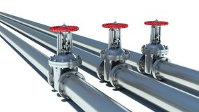 Steel pipeline with red valve Stock Photos